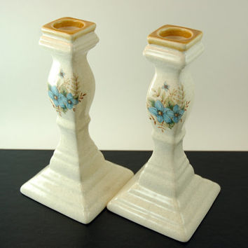 "Mikasa Garden Club Day Dreams Candlestick Pair, 7 1/8"" Tall Candlesticks, Blue Flowers and Speckles Design, Made in Japan"