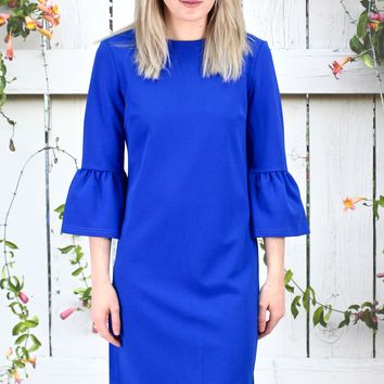 Work It Back Zip 3/4 Bell Sleeve Shift Dress {Royal Blue}