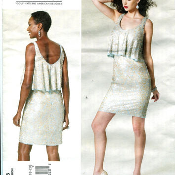 Cocktail Evening, Prom Party Sexy Dress Overlay Bodice Vogue 1288 BADGLEY MISCHKA American Designer UNCUT Sewing Pattern Bust 34-36-38-40-42