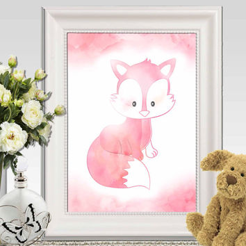 Pink Fox wall art print Baby fox nursery decor Fox printable Baby Girls bedroom ideas Watercolor nursery art 11x14 8x10 5x7 INSTANT DOWNLOAD