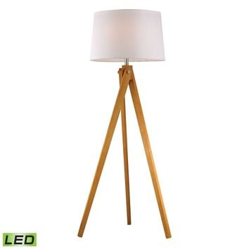 Wooden Tripod LED Floor Lamp in Natural Wood Tone Wood Tone