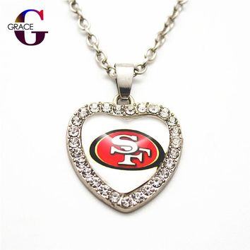 Fashion San Francisco 49ers Football Sports Charms Heart Crystal Necklace Pendant With 50cm Chains For Women Men Diy Jewelry