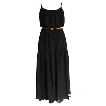 Black Spaghetti Strap Chiffon Ruffled Maxi Dress