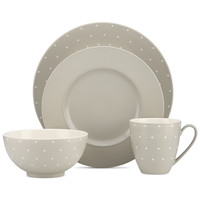 kate spade new york Larabee Dot Grey Collection Stoneware 4-Pc. Place Setting | macys.com