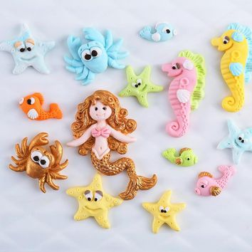 marine life sea star seahorse mermaid Octopus shape silicone mold fondant mould Candy molds Chocolate soft clay resin Molds