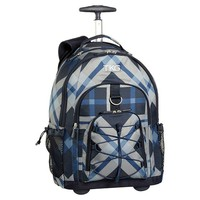 Gear-Up Blue Print Block Plaid Rolling Backpack