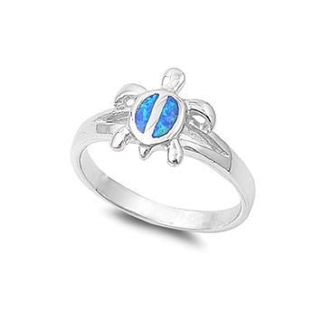 Sterling Silver Blue Opal Inlay Turtle Ring