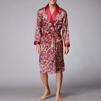 Faux Silk printing Drawstring Sleep Robes Pajamas
