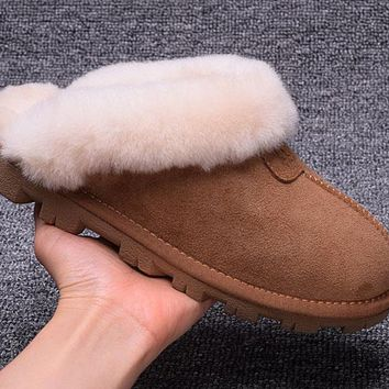 ESBON UGG Slipper Sheepskin Women Men Fashion Casual Wool Winter Snow Boots Chestnut