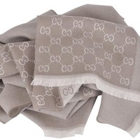 DCCKWA2 Gucci Men's Wool Taupe Beige GG Guccissima Reversible Scarf