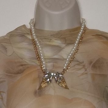 "Angel Wings Gold Tone Chain & Pearl Double Strand Beaded  20""-22"" Adjustable Fashion Pendant Necklace"