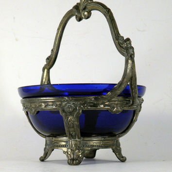 Vintage cobalt blue glass bonbon dish. French Art Nouveau bonbon dish. French glass dish Vintage bonbon bowl Art Nouveau blue glass