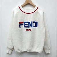 Fendi F striped color letter round neck collar knitted sweater-15