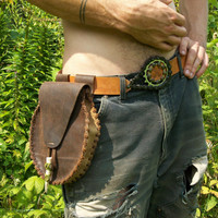 Zende Handcrafted Leather Belt bag pouch medicine pouch with Deer Antler fastening