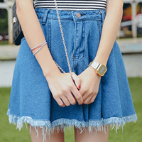 Blue High Waist Ripped Denim A-line Mini Skater Skirt