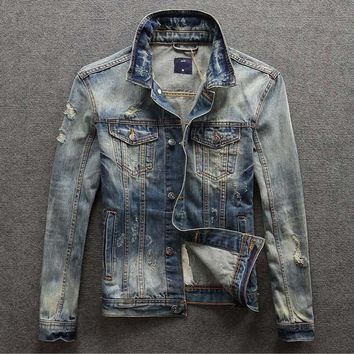 Trendy Hitz retro washed denim jacket Slim jeans male tide men's jackets AT_94_13