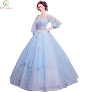 Sweet Light Blue Flower Fairy Princess Prom Dress Transparent Long Sleeves Sequined Party Ball Gown
