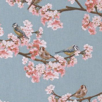 Passerines Branch Blue  French Table Runner