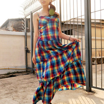 Plaid Summer Dress Party Sleeveless Boho Colorful Spring Fashion Long Gown 8 M