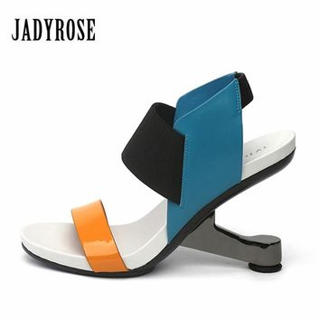 Jady Rose 2018 Fashion Women Gladiator Sandals Leather Pumps Footwear Female Wedding Shoes Woman's New Strange High Heels Wedges