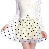 ROMWE Lace Mesh Panel Polka Dots Print Dress
