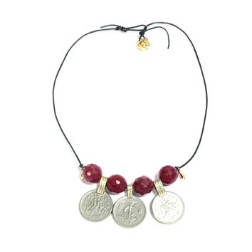 Leather Coins Necklace