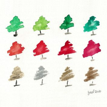 Whimsical Pine trees Art Print in Holiday palette Red Green Silver and Gold Christmas fun.wall decor, watercolor