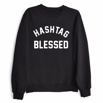 HASHTAG BLESSED Women's Casual Black Gray & White Crewneck Sweatshirt