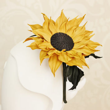 Leather gift for her, leather anniversary, sunflower wedding, leather flowers, leather headpiece, leather sunflower, leather headband