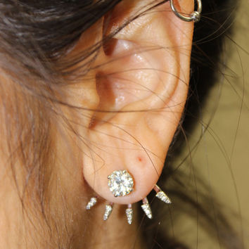 14K Gold 5 Spike Earring Jacket