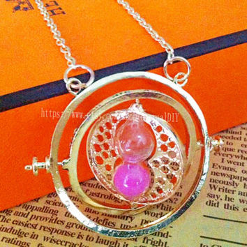 Mei red hourglass Harry Potter time turner necklace Hermione Granger 18k Yellow plated, girlfriend gift, boutique necklace