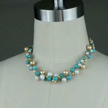 Pearl necklace turquoise bead choker chunky crochet wire