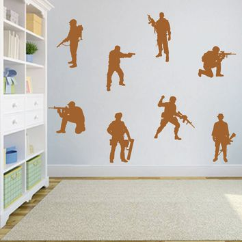 ik704 Wall Decal Sticker soldiers US Army force vest