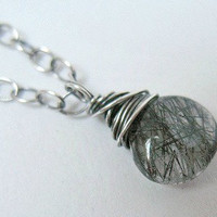 Rutilated Quartz Pendant Necklace Oxidized  Sterling Silver Jewelry
