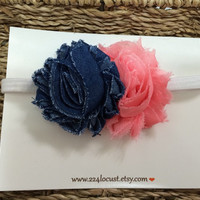 Baby Headband, Denim and Pink, Photo Prop, Photography Prop, Baby, Girl, Headband, Hair Accessory, Headband, Flower, Flower Headband