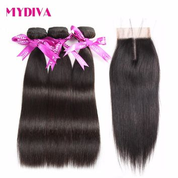 Mydiva Brazilian Hair 3 Weaves With Closure 4 pcs/lot Straight Human Hair Bundles With Lace Closures Middle Part Non Remy 10-26""