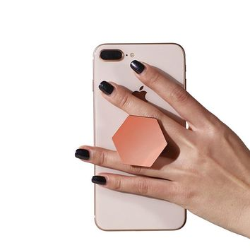 Universal Finger Ring Holder Plating Hexagon Pop Grip Extending Stand Mobile Phone Ring Holder For iPhone X 8 7 Samsung Stand