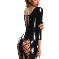 Ninimour- Sexy Fashion Women Black Wetlook Catsuit Romper Stripper (Black)