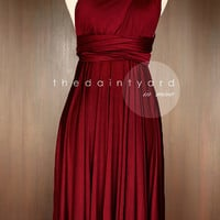Short Straight Hem Wine red Bridesmaid Convertible Infinity Multiway Wrap Dress