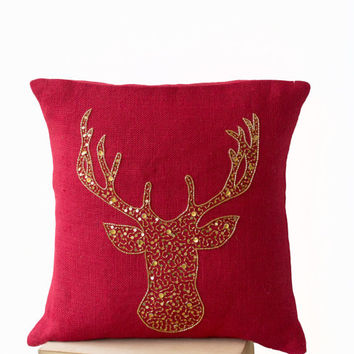 Deer Pillows - Animal pillow with stag embroidered in gold sequin -Burlap pillows -Red Moose pillow - Gold pillows- Christmas pillows 16x16