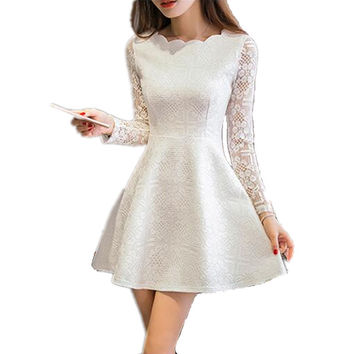 Spring Summer Women Lace Casual Dress Long Sleeve Party Dresses White/ Black/ Pink Mini Dress