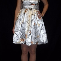 Satin Camouflage Bridesmaid Dresses by Ladymantis on Etsy