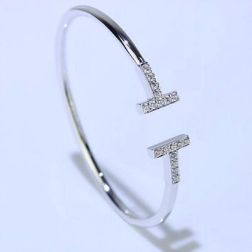 Tiffany Stylish Delicate Women Men Double T Diamond Letter Open Bracelet Lovers Bracelet Accessories