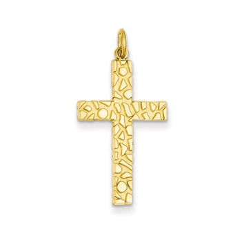 14k Yellow Gold Nugget Style Cross Pendant
