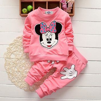 Minnie Mouse 2pcs/set boutique clothing girl Long sleeve