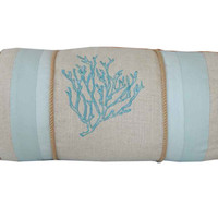Embroidered Coral Reef Neckroll Decorative Throw Pillow
