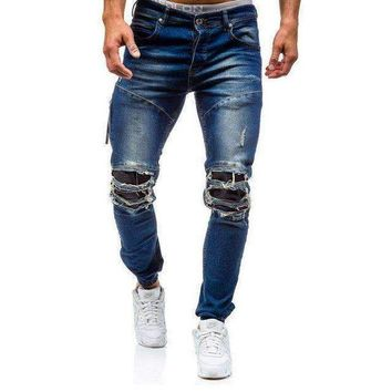ICIKON3 men skinny distressed jeans hole denim jeansripped biker jeans trousers medium washed streetwear hip hop pants