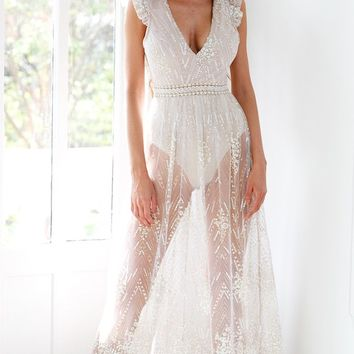 Chasing Waterfalls Blush Pink Sheer Mesh Lace Sequin Ruffle Cap Sleeve V Neck Cut Out Maxi Casual Dress