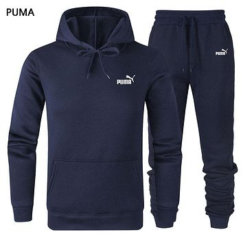 PUMA Autumn And Winter New Fashion Letter Print Women Men Sports Leisure Hooded Long Sleeve Top And Pants Two Piece Suit Dark Blue