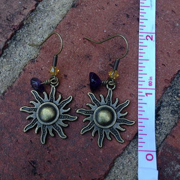 Purple And Yellow Sun Dangle Earrings Inspired By Disneys Tangled
